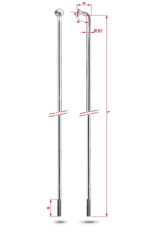 4pcs galvanized shifting Спица Rodi Round Galvanized, серебристый, без ниппеля, 2,0X264 мм, 7RC0D20264