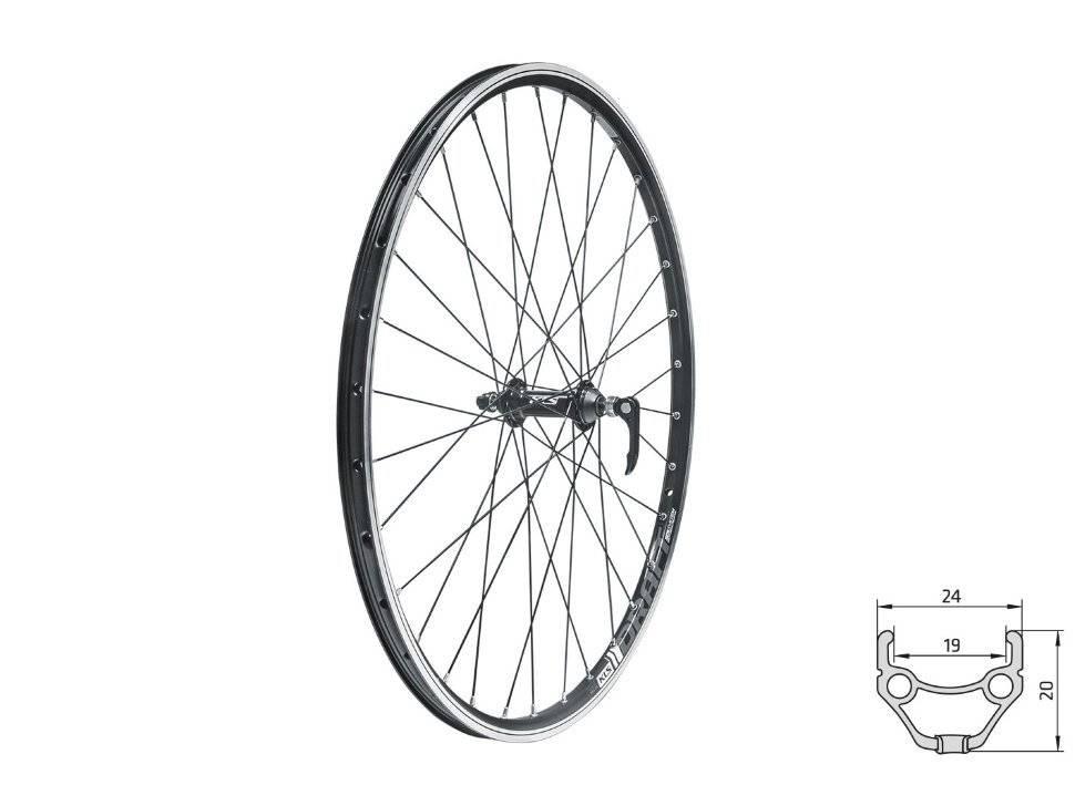 Колесо велосипедное KLS DRAFT 28/29, переднее, двойной обод, 32Н, с эксцентриком, черное