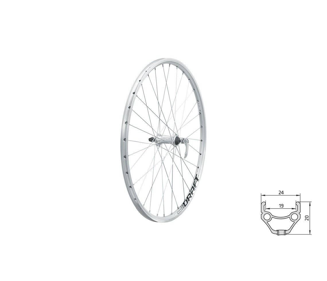 Колесо велосипедное KLS DRAFT 26, переднее, двойной обод 32Н, эксцентриком, серебристое