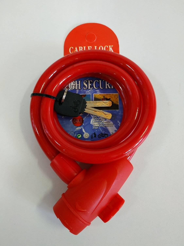 Велосипедный замок Vinca Sport тросовый, на ключ, 12 х 1000мм, красный, VS 566 red