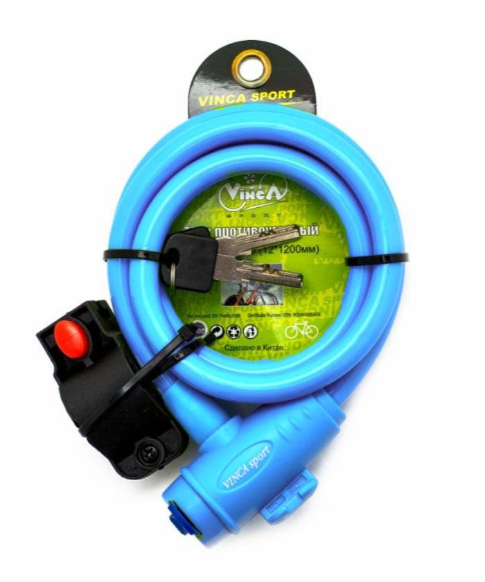 Велосипедный замок Vinca Sport тросовый, на ключ, 12 х 1000мм, голубой, VS 566 blue