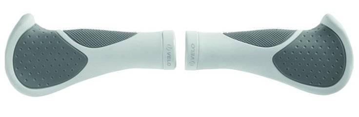 Рога(мини)+ручки на руль велосипедные VELO резина+гель 135мм бело-серые 5-410469, фото 3