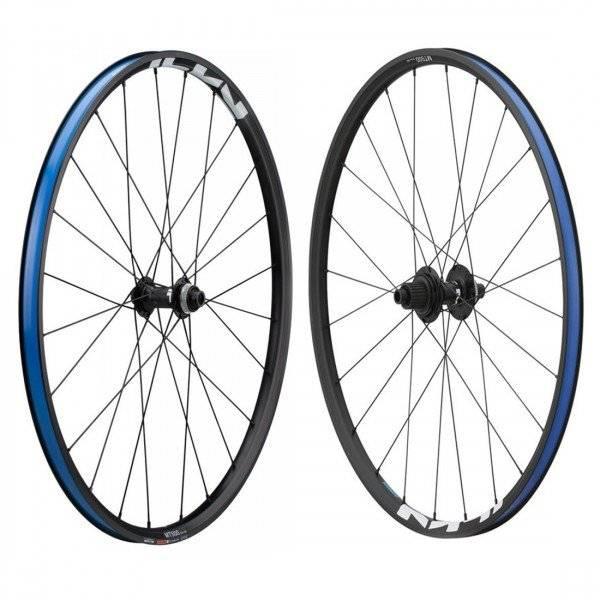 Колеса велосипедные SHIMANO MT501-B-27,5, комплект, под оси F:15мм/R:12мм, Center Lock, OLD:110/148мм, черный, EWHMT501F