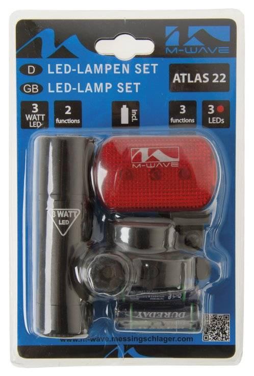 Фара+фонарь M-WAVE 1 диод 3W/2 функции +3 диода/3 красный с батареями 5-221064