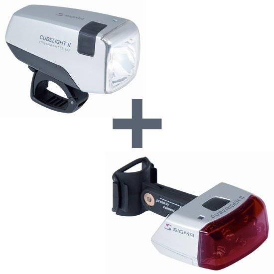 Набор освещения SIGMA, фара передня Cubelight II, фонарь задний Cuberider II, аккумуляторы, 18230