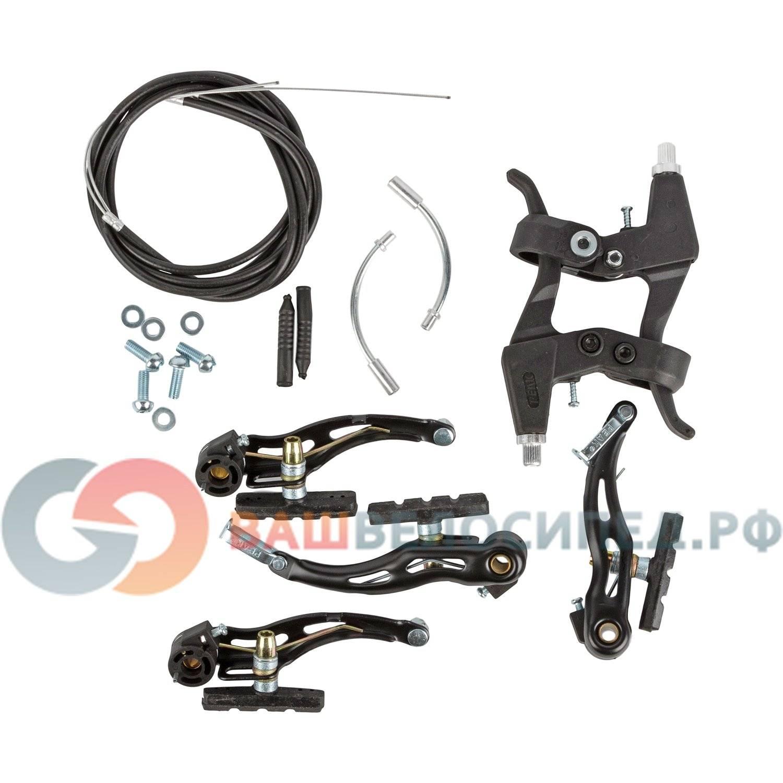 Тормоза PEAK, V-brake в сборе, комплект: стальные тормоза, пластиковые ручки, тросы с рубашками, в торговой упаковке
