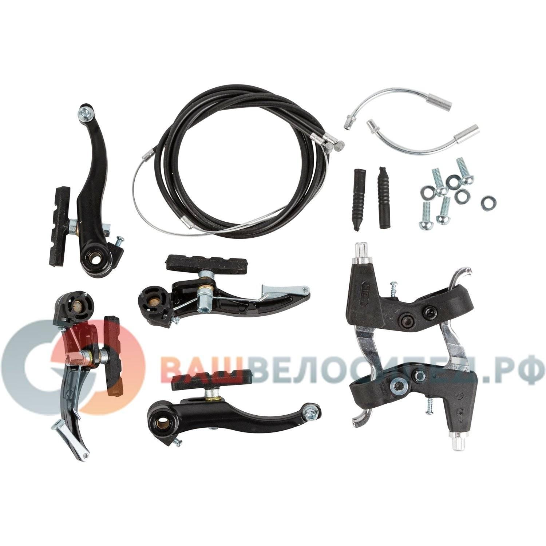 Тормоза PEAK, V-brake в сборе, комплект: алюминиевые тормоза, алюминиевые ручки, тросы с рубашками, в торговой упаковке