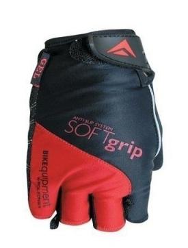 Велоперчатки Polednik SOFT GRIP NEW, эластичный верх, прорезиненная ладонь, красный