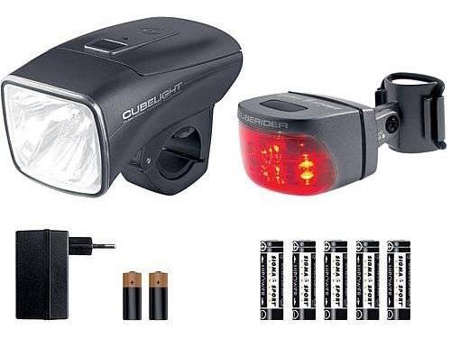 Набор освещения SIGMA, фара передня Cubelight, фонарь задний Cuberider INT, зарядник, 00831