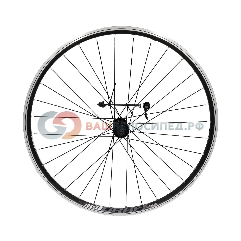 Колесо велосипедное переднее KLS DRAFT, 26, двойной обод CNC, 32Н, с эксцентриком, черное