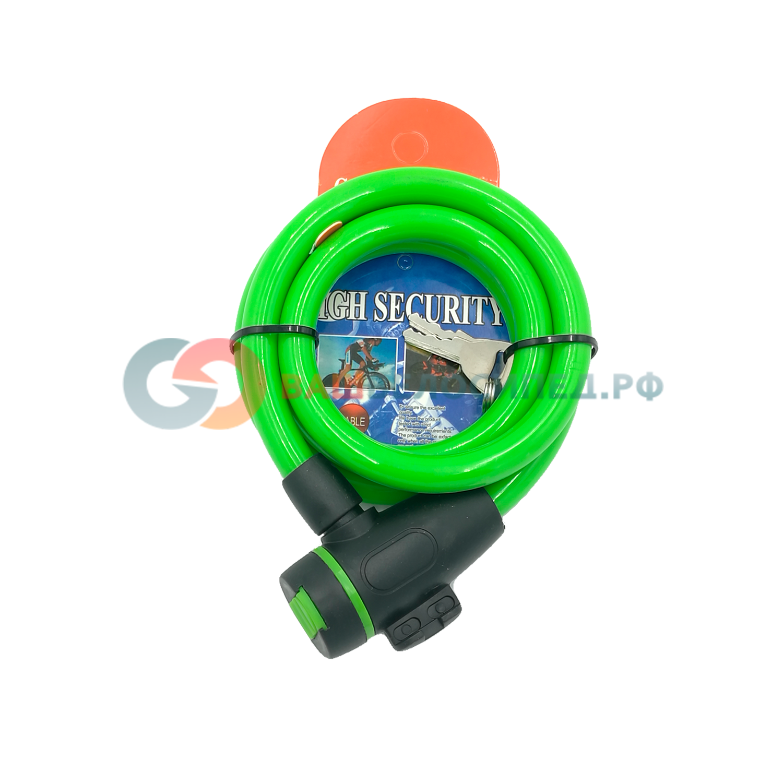 Велосипедный замок Vinca Sport тросовый, на ключ, 12 х 1000мм, зеленый, VS 566 green