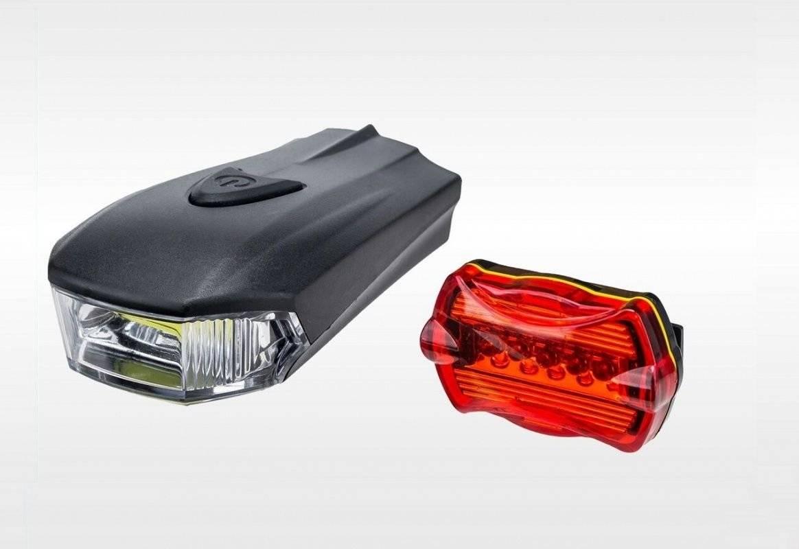 Фонари велосипедные Forward SH-A08, комплект (передний+задний), LED, 8 диодов, 3 режима работы, FWD3265348