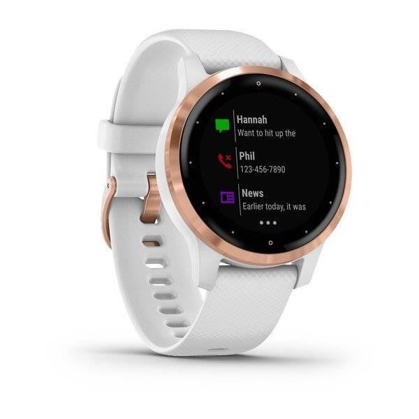 Смарт-часы Garmin vivoactive 4S, GPS, Wi-Fi, E.EU, White/Rose Gold, 010-02172-23