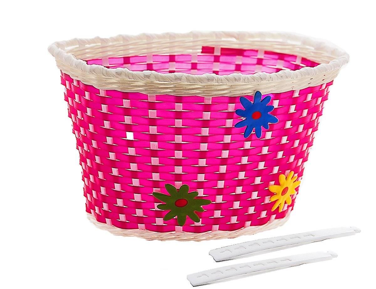 Велокорзина, детская, на руль,креплениена пластмасовые жгуты, розовая с цветами, P 05