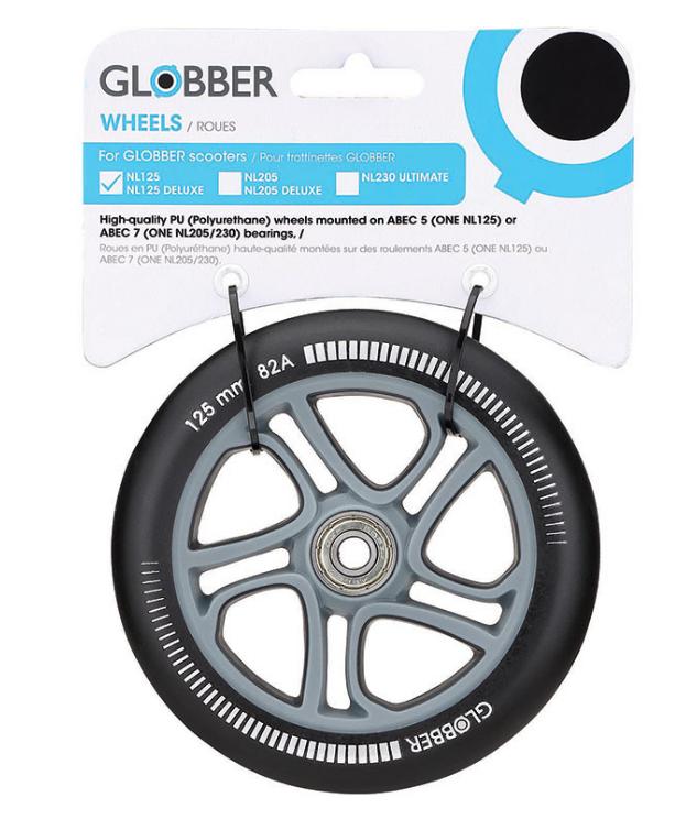 Фото - Колесо для самоката Globber ONE NL 125 wheel, черный, 526-013 аксессуары для велосипедов и самокатов globber комплект колес для самоката 125 мм lightning wheel set for primo evo elite flow 125