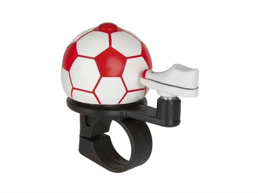 Звонок велосипедный FORWARD Футбольный мяч, алюминиевый D40 мм, красный
