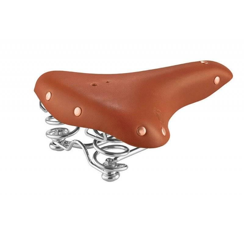 Седло велосипедное Selle MONTE GRAPPA (Италия) РЕТРО SMC2, HANDMADE, комфорт, 260х210мм, кожа, коричневое, 04-001039
