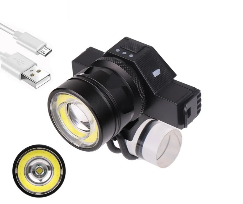Фара велосипедная VXM BST-001, T6+COB LED, настраиваемый ZOOM, USB, с аккумулятором, влагозащита, 5 режимов, УТ00019036