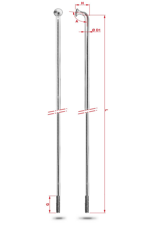 4pcs galvanized shifting Спица Rodi Round Galvanized, серебристый, без ниппеля, 2,0X254 мм, 7RC0D20254