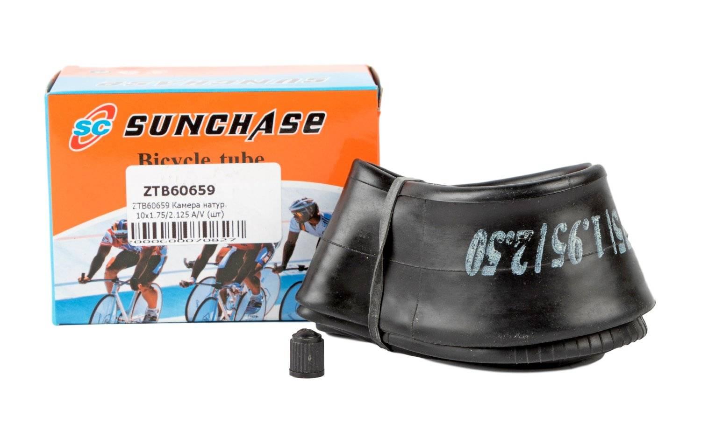 Камера SUNCHASE, натуральная резина, 10x1.75/2.125, автониппель изогнутый