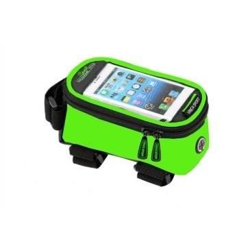 Велосумка на раму, отделение для телефона, отверстие под наушники, 190х90х95мм, FB 07-2 M green