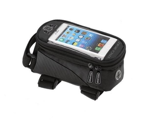 Велосумка на раму, отделение для телефона, отверстие под наушники, 190х90х95мм, FB 07M black