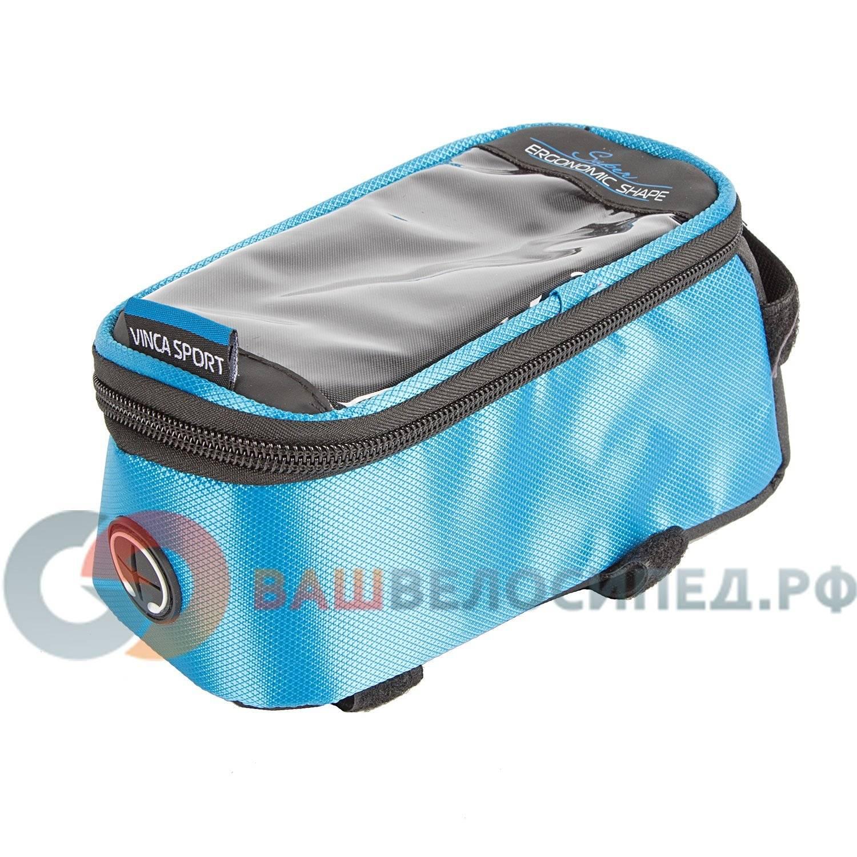 Велосумка на раму, отделение для телефона, отверстие под наушники, 190х90х75мм, FB 07-2 M blue