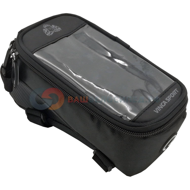 Велосумка на раму, отделение для телефона, отверстие под наушники, 190х90х95мм, FB 07-2 M black