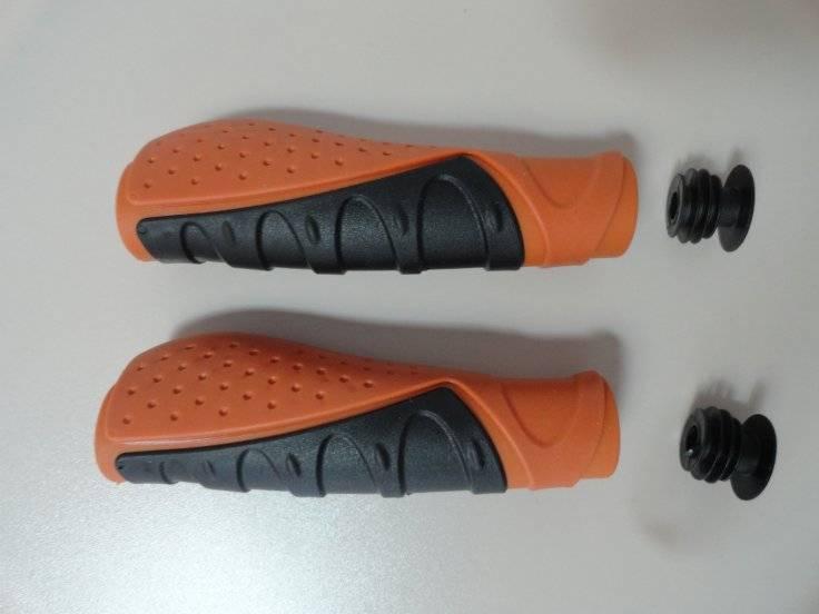Ручки на руль для велосипеда VELO резиновые комфортные 130мм черно-коричневые 5-410520, фото 1
