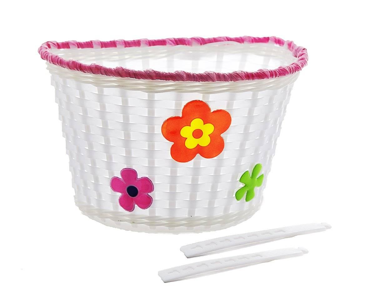 Велокорзина, детская, на руль, крепление на пластмасовые жгуты, белая с цветами, P 06