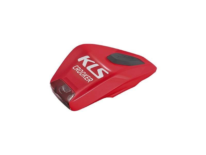 Фонарь диодный KELLYS CROOKER, передний, 2 красных диода, 2 режима, крепление на липучке, красный