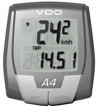 Велокомпьютер VDO A4, проводной, 4 функции, серый, 4-0100