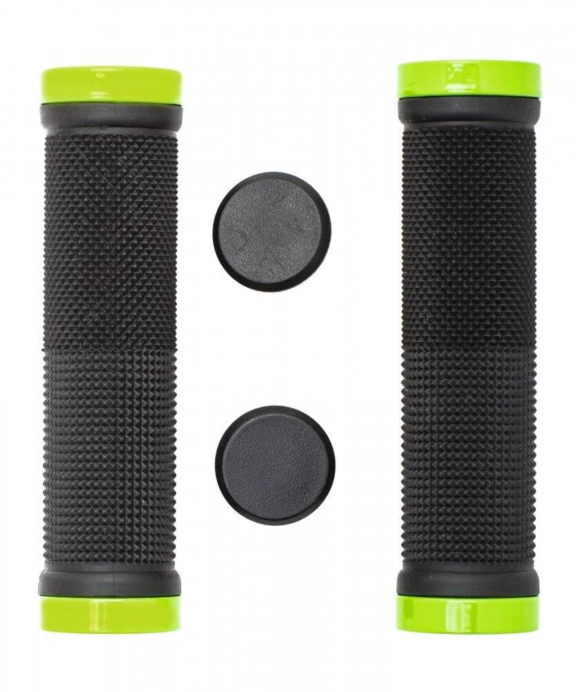 Грипсы для велосипеда VInca с  зажимами,129мм, черные с зелёным, H-G 119 black/light green, фото 1