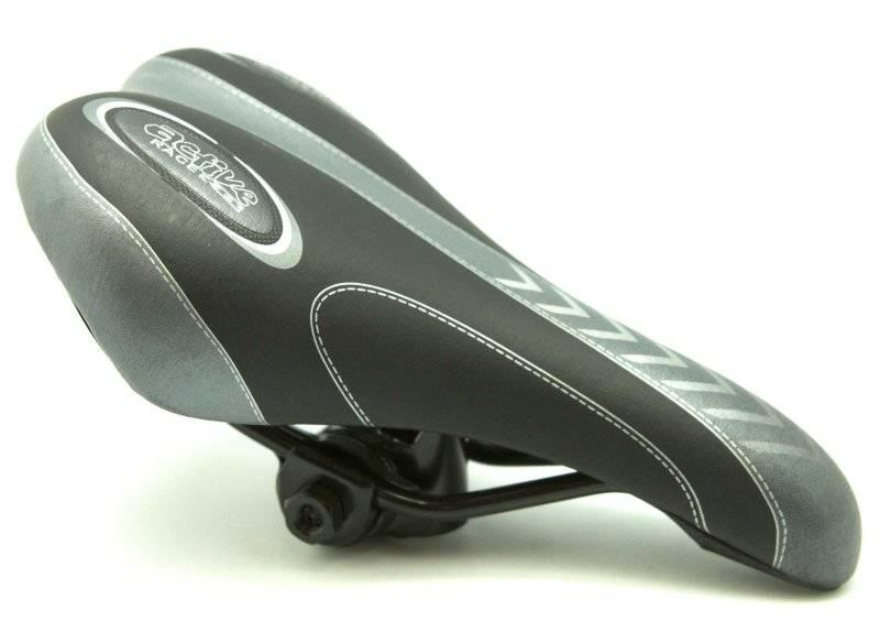 Седло TBS Active Racer 8, чёрно-серое с замком,подростковое, размер 240-135мм