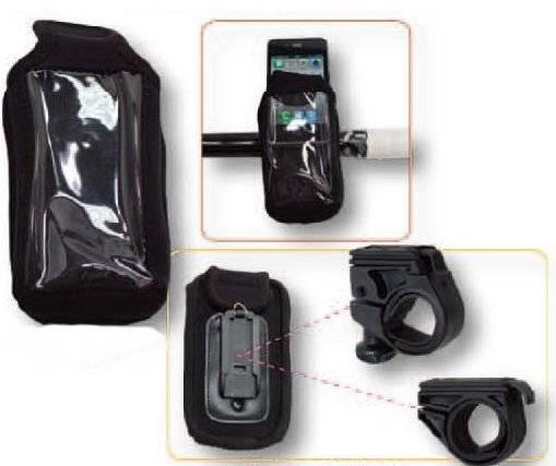 Чехол для смартфона/iPhone (125х65мм) крепление на руль черный 6-141040
