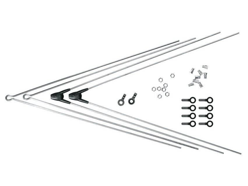Комплект крепежа SKS для BLUEMELS: 2 стойки ASR, 2 V-стойки, 380 мм, серебряный, 0000008315-0380