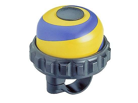 Звонок велосипедный TBS YWS-666A, диаметр 47мм, поворотный, алюминий/пластик, синий/жёлтый/чёрный