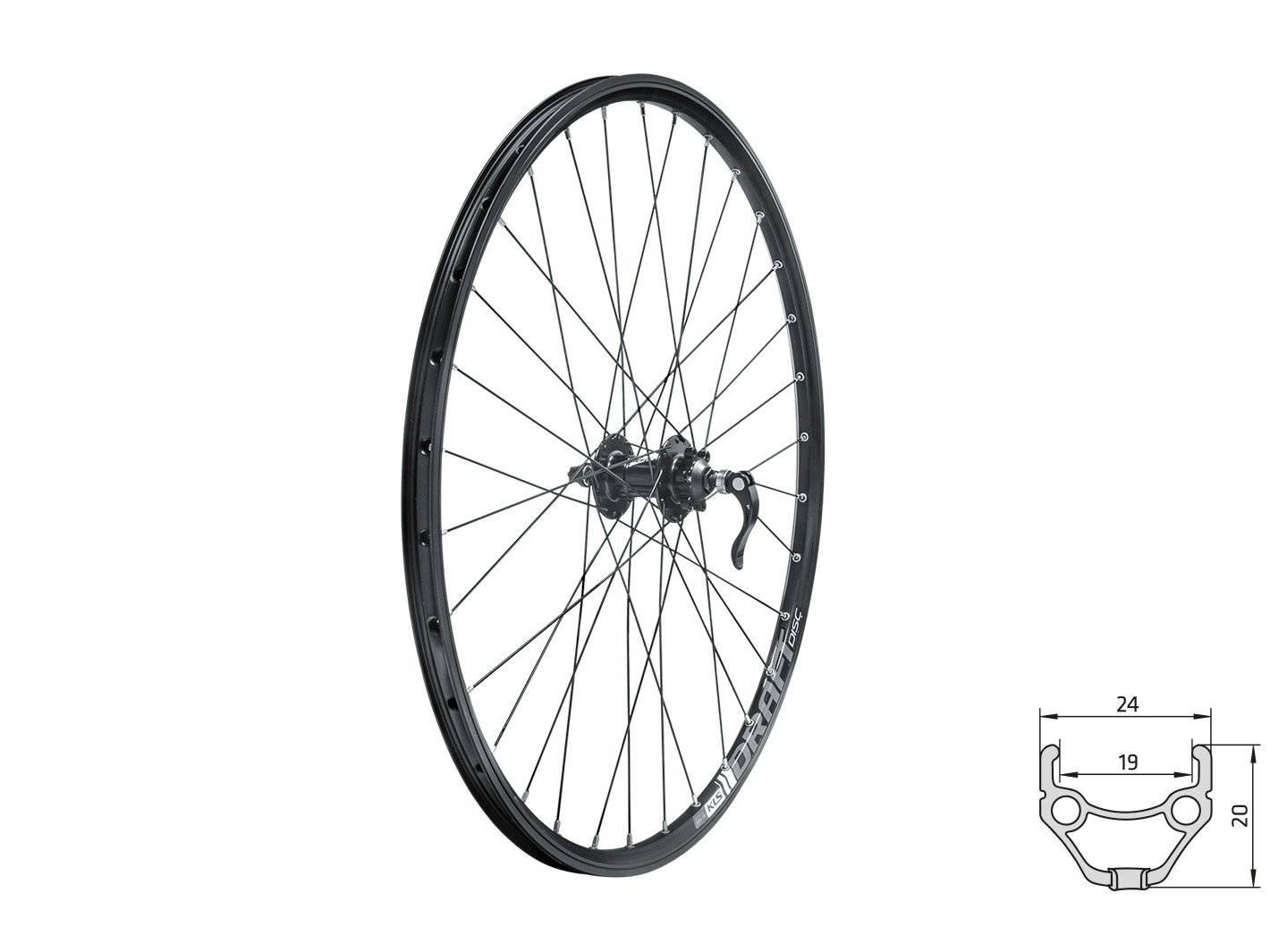Колесо велосипедное переднее KELLY'S KLS DRAFT DSC, 27.5, двойной обод 32Н, с эксцентриком, черное