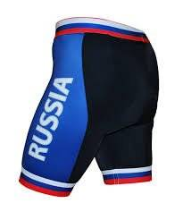 Велошорты S-RUSSIA-C16 PRO с лого РОССИЯ с памперсом C16 черно-синие M FunkierBike, 16-0031, фото 1
