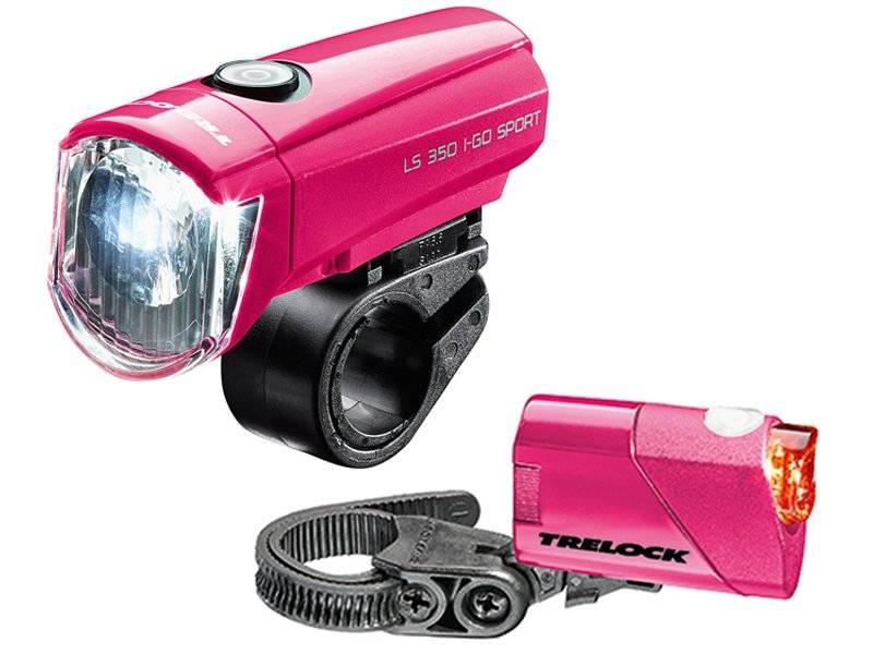 Комплект фонарей TRELOCK, LS 350 I-GO® SPORT / LS 710 REEGO KOMBISET, розовый
