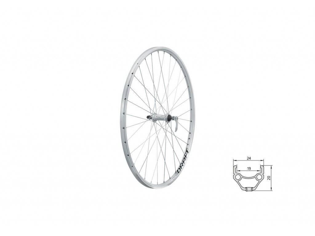 Колесо велосипедное переднее KLS DRAFT, 28/29, двойной обод 32Н, с эксцентриком, серебристое