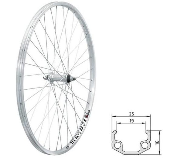 Колесо велосипедное переднее KLS EVENT, 26, одинарный обод 559х19, 36Н, на гайках, серебристое