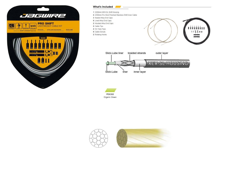 Комплект тросов переключения JAGWIRE Pro Shift Kit с рубашкой, заглушками, салатовый, PCK502