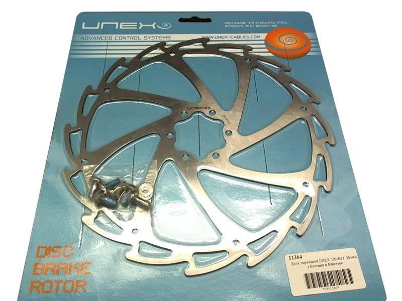 Ротор велосипедный UNEX UN-R13, 203мм, с болтами, в блистере, UN-R13-DIY