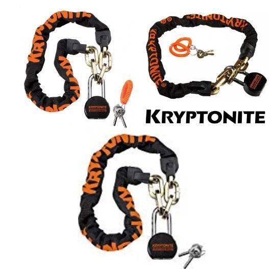 Велосипедный замок Kryptonite Chains MESSENGER CHAIN & MOLY, цепь, навесной замок, на ключ, тканевая-оболочка, черный