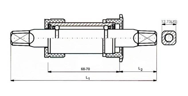 Каретка-картридж велосипедная NECO ширина 68 мм, стальная, 131/34 мм, 5-359276, фото 2