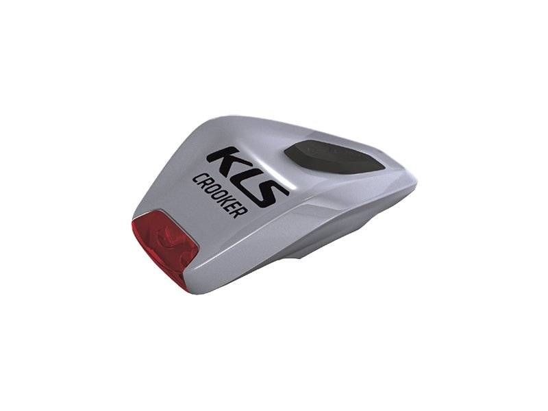 Фонарь диодный KELLYS CROOKER, задний, 2 красных диода, 2 режима, крепление на липучке, серебристый