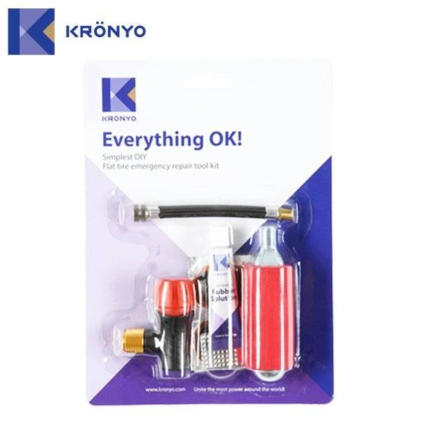 Аптечка KRONYO TBIC-53, 5 заплаток+клей+шкурка+баллон CO2+шланг, 6-170053