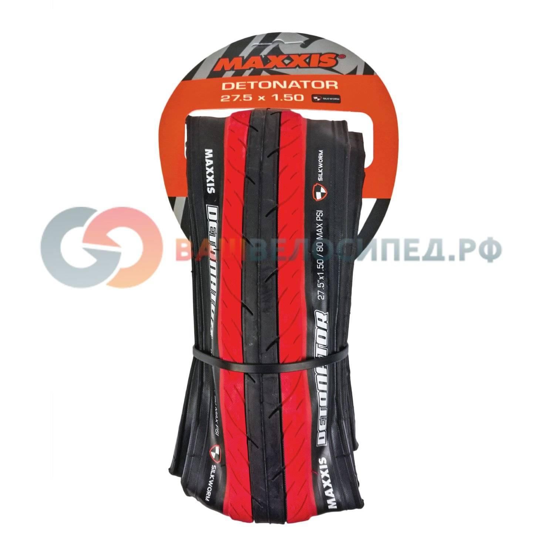 Покрышка Maxxis Detonator, 27.5x1.5, TPI 60 кевлар, черно-красный, TB85917300