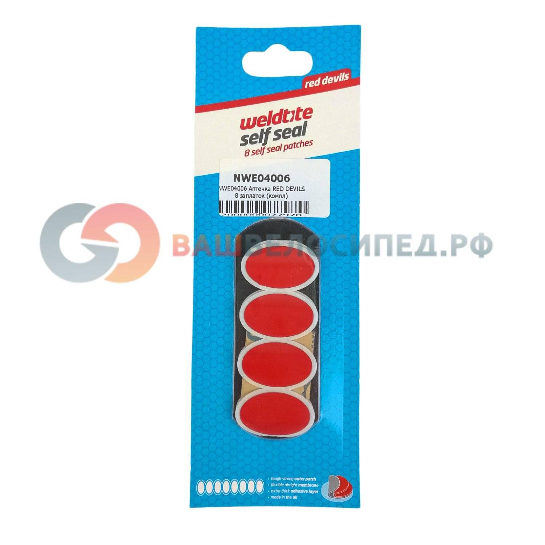 Аптечка WELDTITE RED DEVILS WELDTITE, 8 овальных трехслойных суперзаплаток-самоклеек 28х18мм, 4006